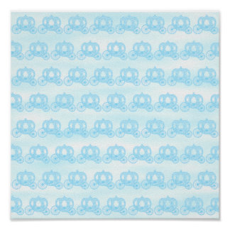 Pale Blue Pattern of Princess Carriages Poster