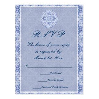 Pale Blue Pattern Wedding Postcard