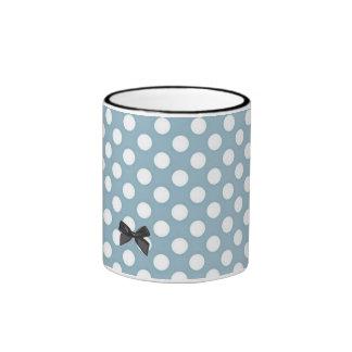 Pale Blue Polka Dot Art Ringer Mug
