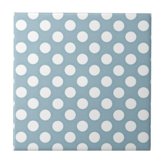 Pale Blue Polka Dot Art Small Square Tile