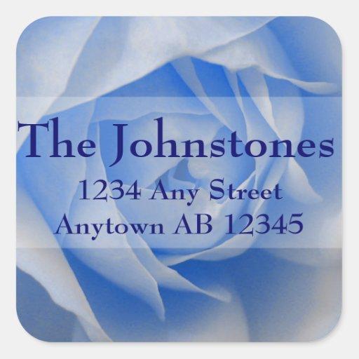 Pale Blue Rose Wedding Return Address Sticker