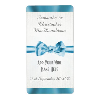 Pale blue satin ribbon bow wedding wine bottle shipping label
