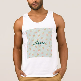 pale blue shabby chic polka dot white pink floral tank top