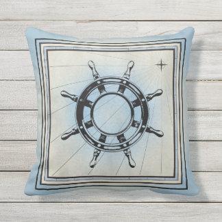 Pale Blue Ship Steering Wheel Design Throw Cushions