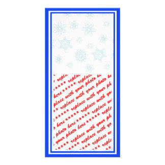 Pale Blue Snowflakes with Red Ribbon Tag Photo Cards