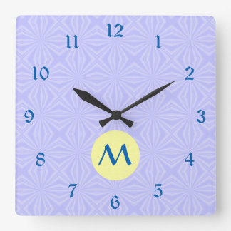 Pale Blue Squiggly Squares Yellow Circle w/ Initia Square Wall Clock