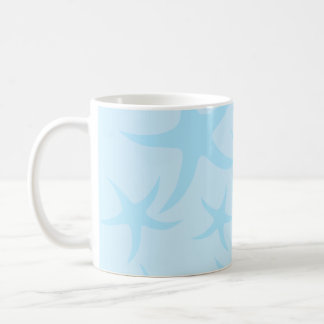 Pale Blue Starfish Pattern. Basic White Mug