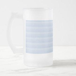 Pale Blue Stripes. Frosted Glass Mug