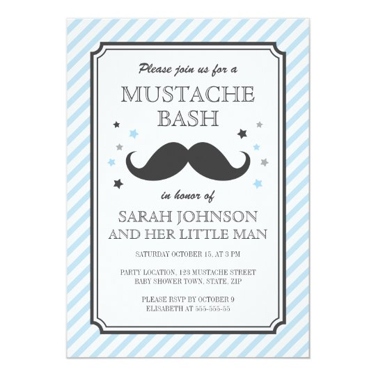 Pale blue stripes little man moustache baby shower card