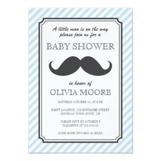 "Pale blue stripes retro mustache bash baby shower 5"" x 7"" invitation card"