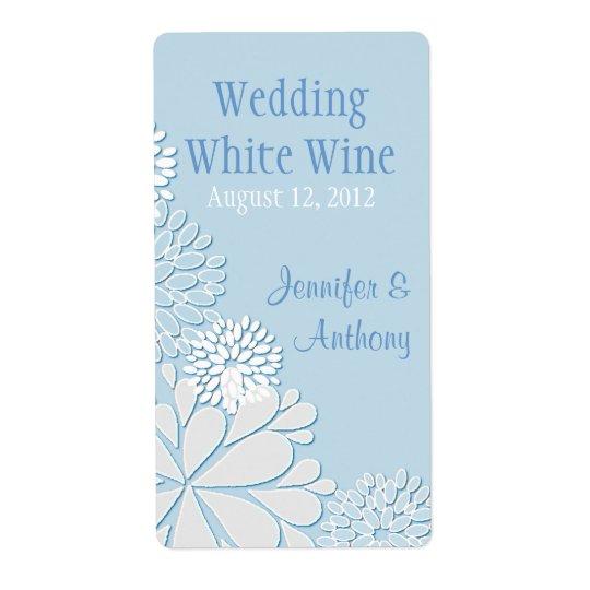 Pale Blue Stylish Chrysanthemum Wedding Mini Wine Shipping Label