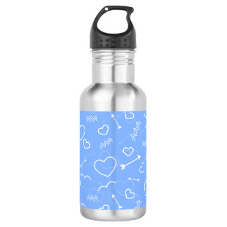 Pale Blue Valentines Love Heart and Arrow Doodles 532 Ml Water Bottle