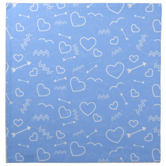 Pale Blue Valentines Love Heart and Arrow Doodles Napkin