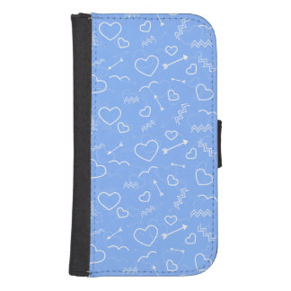 Pale Blue Valentines Love Heart and Arrow Doodles Samsung S4 Wallet Case