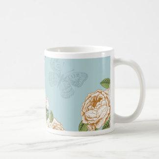 pale blue,vintage,floral,butterfly, basic white mug