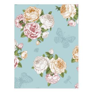 pale blue,vintage,floral,butterfly,victorian,cute, postcard