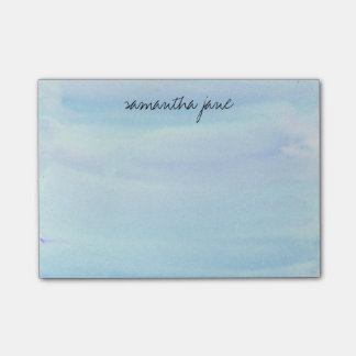 Pale Blue Watercolor Personalized Post-it Notes