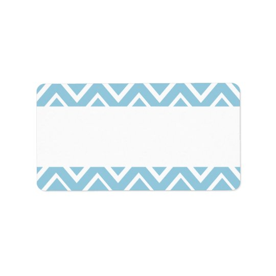 Pale blue whimsical zigzag chevron pattern address label