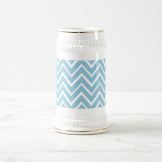 Pale blue whimsical zigzag chevron pattern beer steins