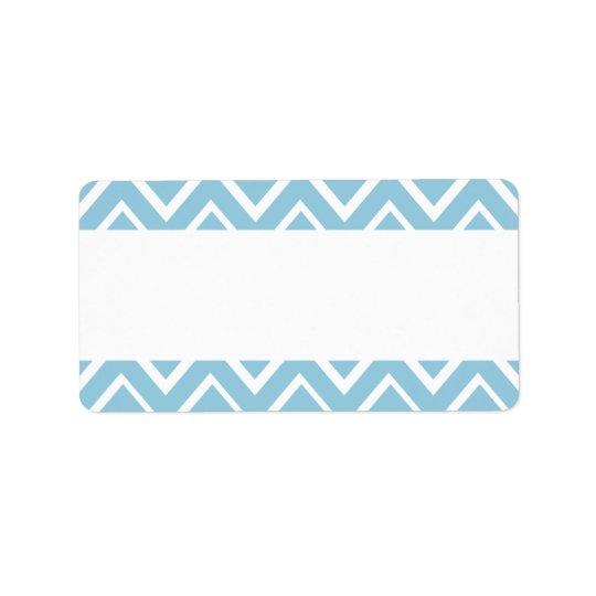 Pale blue whimsical zigzag chevron pattern label