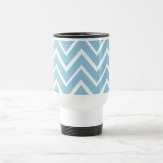 Pale blue whimsical zigzag chevron pattern stainless steel travel mug