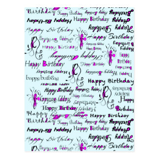 Pale Blue with Purple Splashes Happy Birthdays Postcard