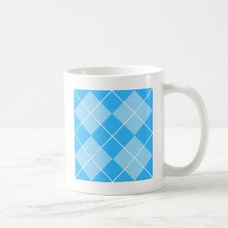 Pale Blues Argyle Basic White Mug