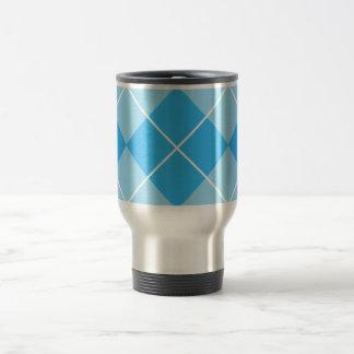 Pale Blues Argyle Stainless Steel Travel Mug