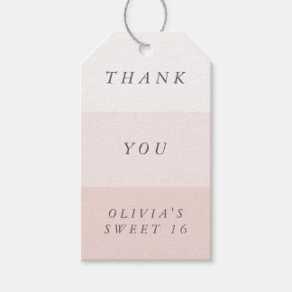 Pale Blush Pink & Gray Colorblock Thank You Favor Gift Tags