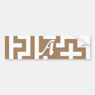 Pale Brown and White Maze Monogram Bumper Stickers