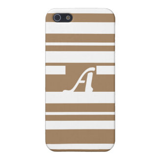 Pale Brown and White Random Stripes Monogram iPhone 5/5S Cases