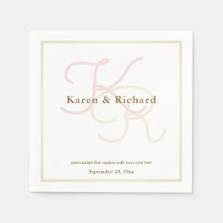 pale colors monogram disposable napkins