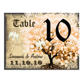 Pale Coral Heart Leaf Tree Table Number Card