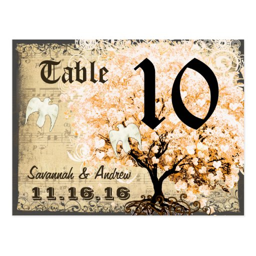 Pale Coral Heart Leaf Tree Table Number Card Post Card