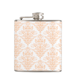 Pale coral Pink and white Elegant Damask Pattern Hip Flask