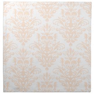 Pale coral Pink and white Elegant Damask Pattern Napkin