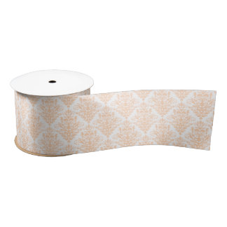 Pale coral Pink and white Elegant Damask Pattern Satin Ribbon