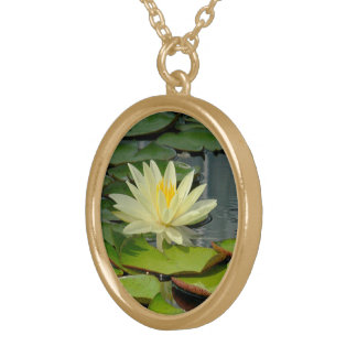 PALE, CREAMY YELLOW LOTUS BLOSSOM NECKLACES