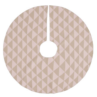 Pale Dogwood Pink and Hazelnut Brown Geometric Brushed Polyester Tree Skirt
