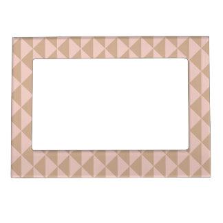 Pale Dogwood Pink and Hazelnut Brown Geometric Photo Frame Magnets