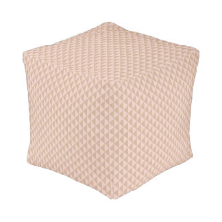 Pale Dogwood Pink and Hazelnut Brown Geometric Pouf