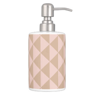 Pale Dogwood Pink and Hazelnut Brown Geometric Soap Dispenser And Toothbrush Holder