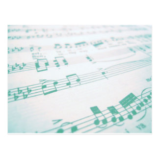 Pale Faded Blue Sheet Music Photography Postcard