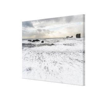Pale foamy ocean seascape, Iceland Canvas Print