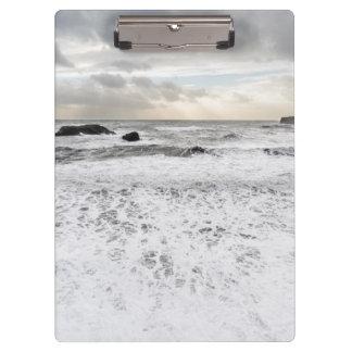 Pale foamy ocean seascape, Iceland Clipboard