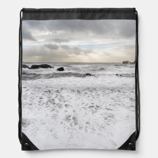 Pale foamy ocean seascape, Iceland Drawstring Bag
