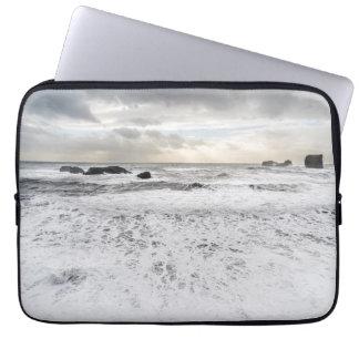 Pale foamy ocean seascape, Iceland Laptop Sleeve