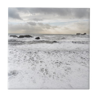 Pale foamy ocean seascape, Iceland Small Square Tile
