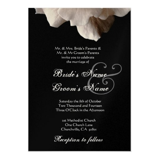 PALE GOLD and Black Rose Wedding Invitation