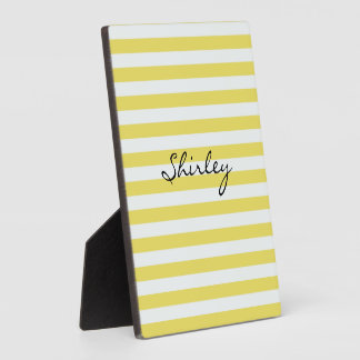 Pale Gold and White Stripes by Shirley Taylor Plaque